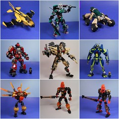 Projects from 2016! (MySnailEatsPizza) Tags: lego bionicle mecha mech robot race racing yellow red green jade tan throw throwbot toa warrior sword blue moc custom cool mysnaileatspizza mrl league beetle 2016 review happy new year