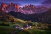 Dolomiti Painting (albert dros) Tags: churches glow dolomites peaks travel church albertdros mountains italy alpenglow fairytale tourism odlerange autumn