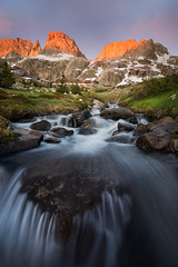 First Light (David Young - LandscapeExposure.com) Tags: alpenglow sunrise minarets sierra waterfall landscape anseladamswilderness