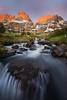 First Light (David Young - LandscapeExposure.com) Tags: alpenglow sunrise minarets sierra waterfall landscape anseladamswilderness