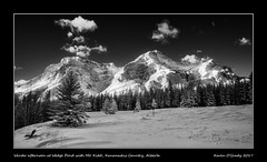 Winter afternoon at Wedge Pond with Mt. Kidd, Kananaskis Country, Alberta (kgogrady) Tags: infrared landscape winter alberta canada canadianlandscapes clouds canadianmountains cans2s bw afternoon albertalandscapes blackwhite canadianrockieslanscape canadianrockies 2017 ab blackandwhite snow trees wedgepond westerncanada xpro1 sunny xf14mmf28r fujifilm fujinon fujifilmxpro1 bench mtkidd mountkidd mountain highway40 kananaskis