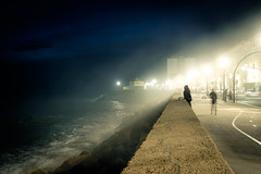 Barrier of light (Patberg) Tags: streetlight ocean city twillight bluehour spain andalucia cadiz street wall