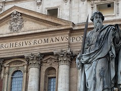 STATVE ROMANVS (jkc photos) Tags: vatican rome italy church catholicism pope papal basilica cathedral stpeter saint italian vacation visit travel statue art sculpture lifelike largerthanlife immortal architecture building structure facade words writing