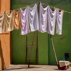 washing day (Blende1.8) Tags: italien venice italy orange green colors italia colours linen panasonic g5 laundry towels grn venedig wsche handtcher burano farben waschtag wscheleine wscheklammern mft colourartaward dmcg5