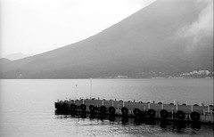 Clair de lune 🎶 🌚🌛 🌝 (rodrigo.blackburn) Tags: blackandwhite mountain lake water japan clouds landscape dock calm nikko tochigi fujiacross100 olympusom2n d7611 nikoncoolscaniv zuiko50mm18 uploaded:by=instagram chizuenji