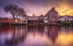 Bit over the top! (MarkJongen photography) Tags: blue trees sunset orange sun building tree water windmill canon reflections purple tripod reflected software 7d nik edit schiedam reflecties