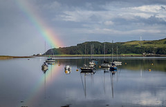 Campbeltown Loch (Rodger Shearer) Tags: colour reflection boats scotland rainbow loch