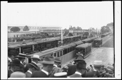 Crossing the overhead bridge to trams at platform below, Randwick, ca. 1914 / unknown photographer (State Library of New South Wales collection) Tags: statelibraryofnewsouthwales