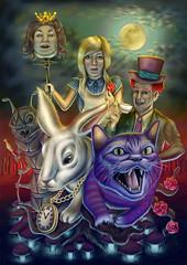 "Alice in Wonderland (Alessandro Cerato ""Cherry"") Tags: rabbit cat louis paint alice painter carroll draw worm wonderland disegno corel paese meraviglia"