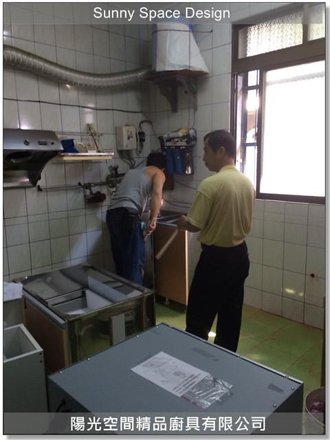 廚具│廚具工廠│廚具大王-作品253-圓圓小編自家ㄇ字型+中島廚具-陽光空間精品廚具