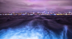 Mor İstanbul'un Mavi Dalgaları (Purple Istanbul's blue waves) (ehanoglu) Tags: blue light sea night long exposure purple wave istanbul deniz mavi mor han emre marmara gece dalga akşam exoticistanbul emrehanoglu emrehanoğlu hanoğlu
