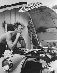Clint Eastwood (Colorized by TOSHIO.Y) Tags: ca building male sports car television america radio losangeles automobile unitedstates north engine photograph american actor hood jag fixing headlight headlamp director bonnet leaning clinteastwood motorcar t22945 t1054588