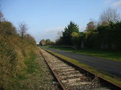 Mullingar to Athlone Greenway - Newbrook Racecourse southern boundary wall & rail platform (4th Nov 2015) (RETRO STU) Tags: ireland tourism athlone mullingar countywestmeath mgwr midlandgreatwesternrailway cyclegreenway newbrookracecourse