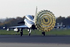CHUTE OUT LANDING  TYPHOON  RAF (MANX NORTON) Tags: shadow hawk aircraft hurricane jet fast falcon eurofighter lancaster spitfire vulcan r1 jaguar f3 c17 boeing 20 chinook tornado dakota typhoon raf nato sentinel sentry nimrod a400 awacs gr4 bbmf xh558 coningsby e3a 41sq atlastornado r1e3a