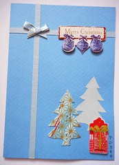 Handmade blue trees Christmas card (tengds) Tags: blue trees red card gift ribbon christmastrees christmascard papercraft christmasornaments handmadecard bluetrees tengds