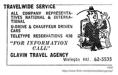 1958 glavin travel (albany group archive) Tags: albany ny 1958 yellow pages ad glavin travel bureau agency travelwide oldalbany history 1950s old vintage photos photographs historical historic
