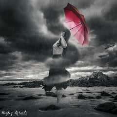 Storm Clouds Gather (Hayley Roberts Photography) Tags: blackandwhite bw selfportrait storm art beach weather composite clouds umbrella photoshop blog fineart levitation manipulation illusion howto trickphotography tutorial possessed lightroom selectivecolour surrealphotography conceptualphotography learnphotography replaceskies