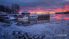 Snowrise with a Skiff of Sun (Scenics Abound Photography (Randy Hill)) Tags: morning pink sunrise nikon calm fishingboats firstsnow manfrotto buoyant randyhill turningtide pereau delhavenwharf copyrightcharlesrhill scenicsaboundphotography wwwfacebookcomscenicsaboundphotography kentvillenscanada wwwflickrcomphotosscenicsaboundphotography