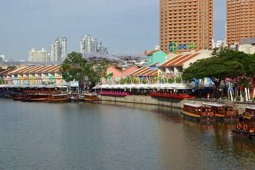 Clarke Quay by the Singapore river in the morning