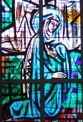 Stained glass picture of Mary, Mother of God, in St Mark Chapel