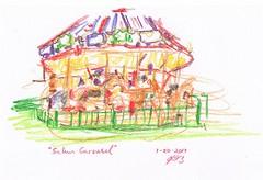 Salem Carousel (jimblodget) Tags: sketch crayon carousel neocolor drawing pleinair urban