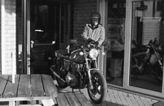 Sunny pickup (Arne Kuilman) Tags: kerst 2016 nederland netherlands trix iso400 f100 nikon 50mm 50mmf14 film scan kodak d76 homedeveloped v600 limburg blackandwhite laverda laverda1000 driving rijden motorcycle motorbike motorfiets motor italian nakedbike nuth