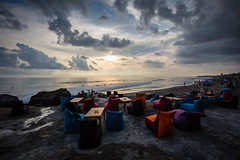 Cafe on the Beach in Bali (pictcorrect) Tags: bali island echo beach canggu surfers surfing sunset wide angle