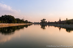 Mya Nan San Kyaw Palace Moat in Mandalay, Myanmar (AnthonyGurr) Tags: burma myanmar anthonygurr myanansankyaw palace moat mandalay water sunset lowsun reflection waterreflection