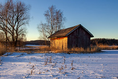 Shed by the river (Joni Mansikka) Tags: winter nature outdoor fields trees bluesky sunlight shed riverside paimio suomi finland landscape snow canonef2880mmf284lusm