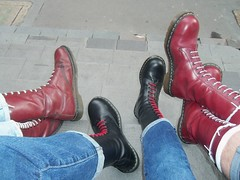 Boots DM group (collaredinboots1) Tags: boots booted dms docs docmartens reddocs redboots laces jeans skinhead