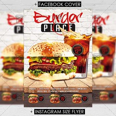 Burger Place - Premium Flyer Template (ExclusiveFlyer) Tags: exclusiveflyer psd freeflyer burgerplace hamburgers fastfood cafe restaurant tastyfood burgers