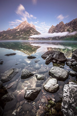 Mountain Glass (Trevan Hiersche) Tags: park wild lake reflection water mirror nationalpark outdoor jenny wanderlust adventure explore wyoming wilderness teton elevation tetons exploration grandtetonnationalpark jennylake