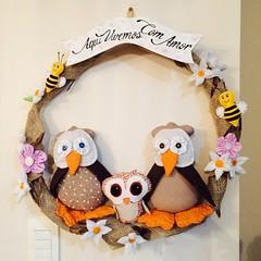 Guirlanda de Corujas (Pina & Ju) Tags: handmade flor artesanato guirlanda fuxico coruja tecido patchrork