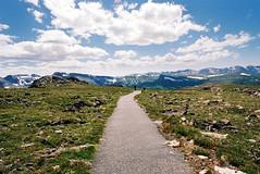(SamBHart) Tags: park travel summer usa snow mountains film america 35mm landscape nikon hiking path rocky hike national pathway fm2