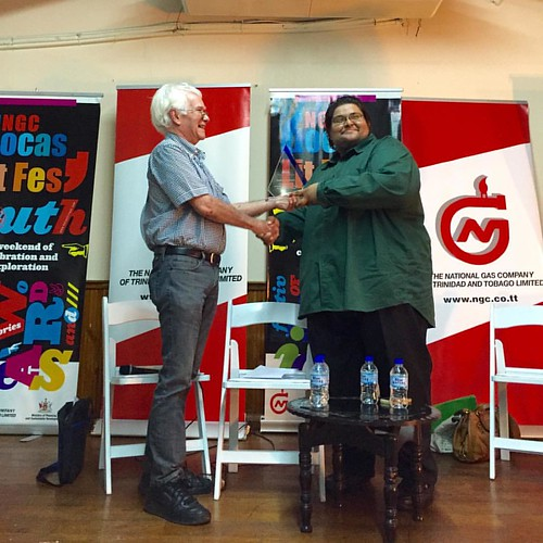 Angelo Bissessarsingh (R) receives a Citizens of Conservation award from Geoffrey McLean at Bocas Litfest South. #Trinidad