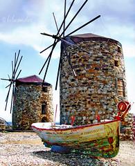Greece, Chios island, Tabakika, old rundown windmills and a boat (bilwander) Tags: travel boat windmills greece chora decayed aegeansea bilwander  chiosisland  tabakika