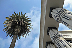 Rosicrucian Egyptian Museum (kenjet) Tags: sky building museum architecture view columns sanjose palm palmtree egyptian column rosicrucianmuseum rosicrucian rosicrucianegyptianmuseum
