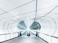 Tunnel Vision (Philipp Gtze) Tags: white architecture subway rotterdam metro escalator tunnel clean urbanism