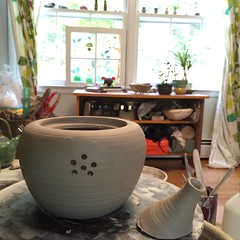 Assembling a teapot. (Ceramic Design by Cherie) Tags: ceramics handmade workinprogress wip pottery teapot functional cherie giampietro