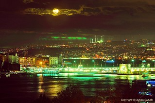 Galata Bridge under the Moonlight