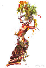 (farbwerth) Tags: abstract tree watercolor drawing frau metamorphose farbwerth