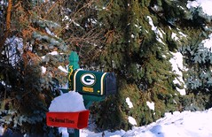 Packer Fan in Waterford, Wisconsin (Cragin Spring) Tags: football nfl greenbay packers mailbox snow tree waterford waterfordwisconsin waterfordwi midwest wisconsin wi unitedstates usa unitedstatesofamerica pines