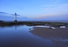 Lighthouse at Perch Rock (Maggie's Camera) Tags: perchrock lighthouse perchrocklighthouse wallasey newbrighton merseyside winter2016 river estuary water briny sand boat blue