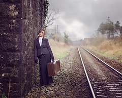 Elle (Michelle Hughes Walsh Photography) Tags: vintage editorial fashion donton abbey lady woman beautiful railway track suitcase suit waiting bridge moody fineart vogue posing engaging tweed