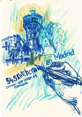 54 SKECHTCRAWL - MADRID (GARGABLE) Tags: skechtcrawl 54skechtcrawl madrid cartel mano apuntes drawings dibujos angelbeltrán uniposca lápicesdecolores azul gargable