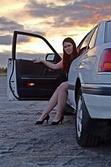 Girl, car and sunset (AV art) Tags: girl woman lady redhead sunset fall autumn september white car tyttö nainen neiti leidi punapää valkoinen auto syksy syyskuu auringonlasku