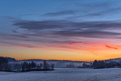 Sunset with mist in Hølen, Norway (Ingunn Eriksen) Tags: hølen norway vestby akershus sky skypoetry cloudsstormssunsetssunrises landscape winter winterlandscape mist fog nikond750 sunset