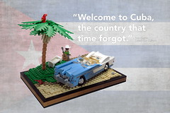Welcome to Cuba (Vaionaut) Tags: cuba car lego vehicle blue white beach palm oldtimer guitar lifestyle parrot