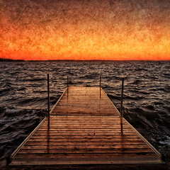 Dock Waves (craig_schenk) Tags: iphone iphone5s iphoneography dock lake water waves sunset landscape seascape orange blue texture snapseed textureoverlays square summer light symmetry outdoors canada ontario