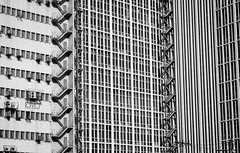 Metal Stitches (Blue Nozomi) Tags: stitch stairwell makati manila philippines emergency fire exit vertical lines monotonous monotony black white mono zigzag